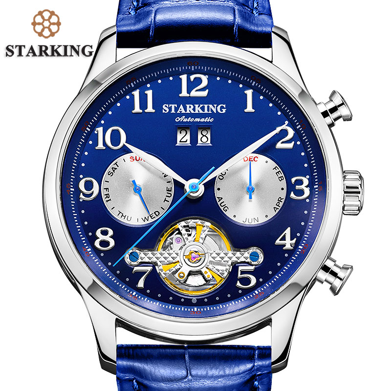 STARKING Branded Automatic Mechanical Mens Wrist Watch Self-wind Skeleton Tourbillon Watches Luxury Men Blue Dress Fashion Clock