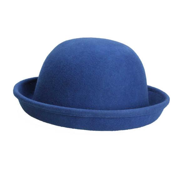 b45270d4c4fd1 ... Vintage Women Men Woolen Roll Brim Bowler Hats Unisex Billycock Classic  -MX8