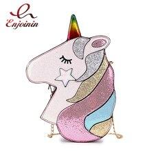 חמוד פנטזיה אופנה Unicorn עיצוב עור מפוצל לייזר ילדה של שרשרת ארנק תיק כתף תיק Crossbody מיני שליח תיק דש