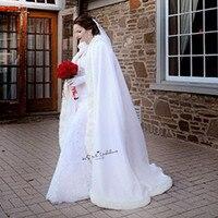 Длинные Для женщин белого цвета и цвета слоновой кости свадебное плащи Искусственный мех отделкой Зимние Новогодние товары Свадебная наки