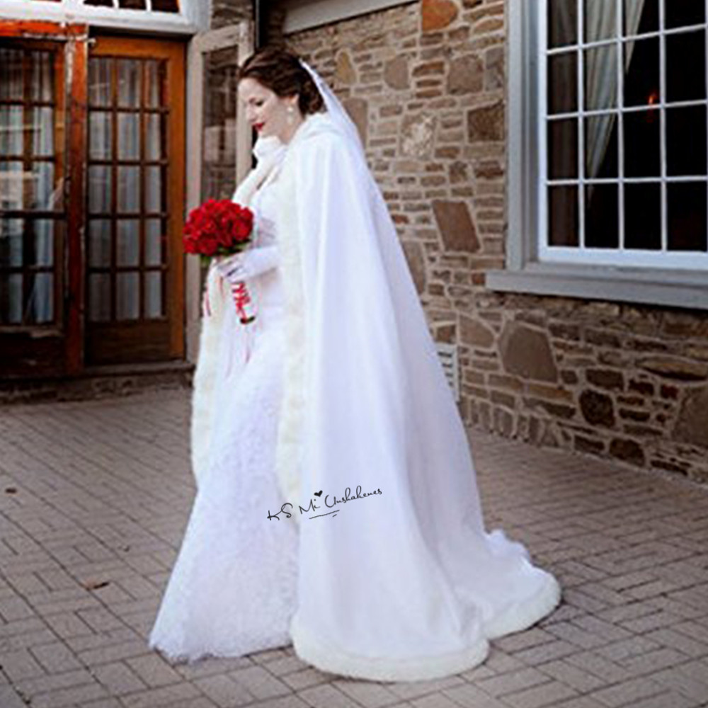 Aliexpress Buy Long Women White Ivory Wedding Cloaks Faux Fur Trim Winter Christmas Bridal Cape Stunning Hooded Party Wraps Jacket From
