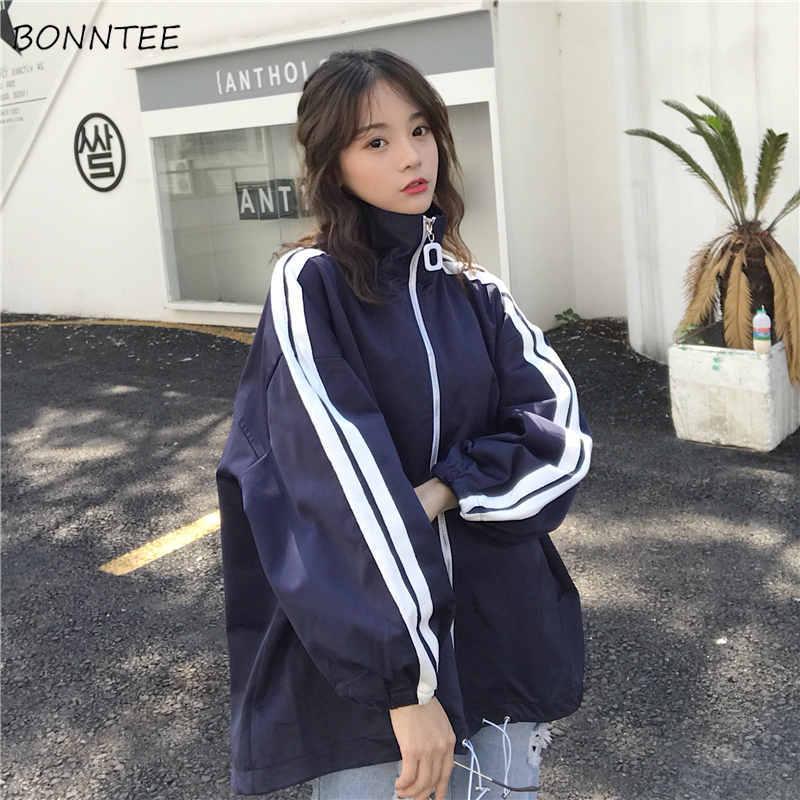 Куртка женская, в полоску, с карманами на молнии