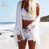 Beach Cover Up Summer Swimsuit Lace Hollow Out Crochet Beach Bikini Cover Up Long Sleeve Women Swimwear Dress White Tunic Shirt