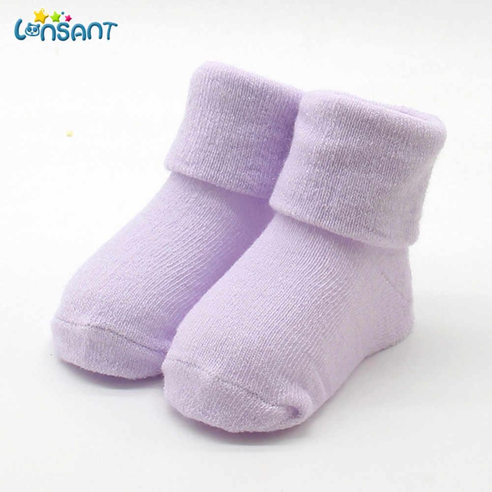 LONSANT/Новинка; Лидер продаж; Милые Удобные однотонные хлопковые носки для новорожденных девочек и мальчиков с героями мультфильмов; тапочки; теплые носки до лодыжки