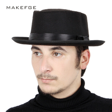 2018 New Fashion Solid Color cylinder Fedoras Hat Brim Winter vintage Felt  Hats Man Woman Elegant f34f70879cbc