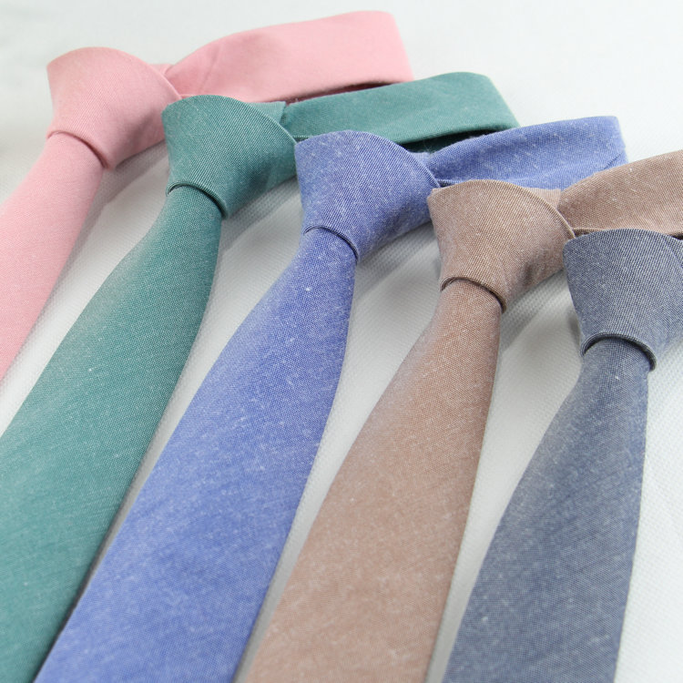 Fashion Solid Ties For Men Casual Narrow Neckties Skinny Mens Neck Ties For Party Wedding Candy Color Linen Tie Cravat