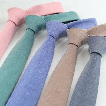 Moda solidne krawaty dla mężczyzn dorywczo wąskie krawaty Skinny męskie krawaty na wesele cukierki kolor pościel krawat krawat tanie i dobre opinie KROAESHA WOMEN COTTON Linen CN (pochodzenie) Dla osób dorosłych muszki Jeden rozmiar Stałe 145*6*3 8cm