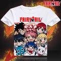 Moda japão Anime T Shirt dos homens Fairy Tail Lucy Erza camisa em torno do pescoço t-shirt Tops tees frete grátis