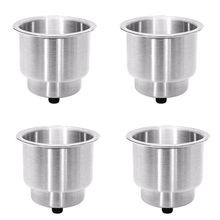4PCS Recessed Stainless Steel Cup Drink Bottle Holder with Drain Marine for Boat