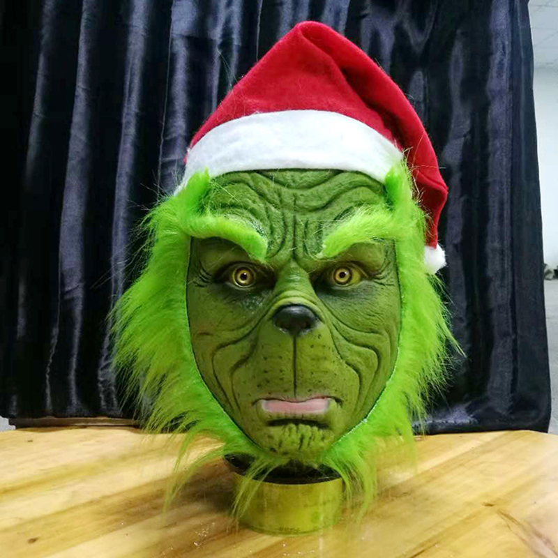 Funny Grinch Stole Christmas Cosplay Party Mask Hat XMAS