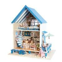 بيت الدمية والأثاث دمية ديي تجميع بناء نموذج خشبي miniatura لعب للأطفال عيد الميلاد هدية الموسيقى