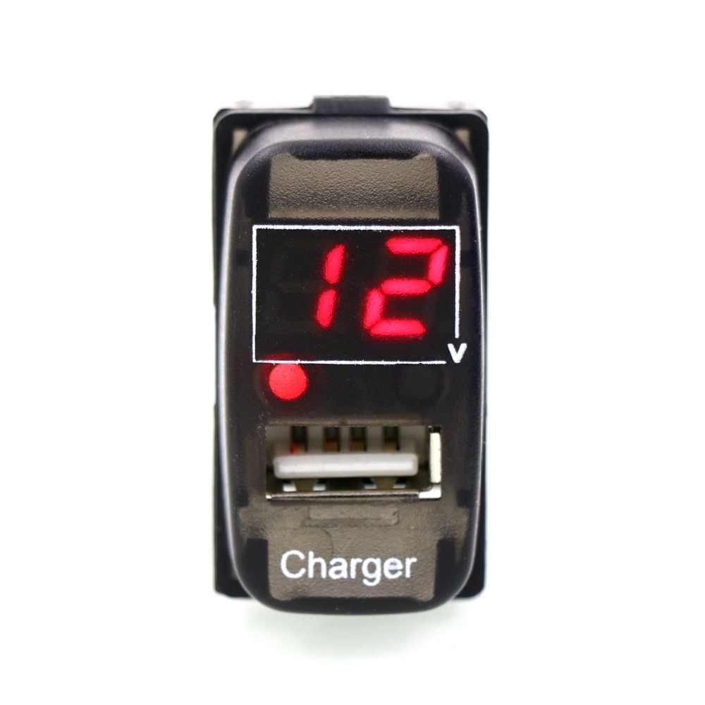 5 V 2.1A interfaz USB cargador de coche y medidor de voltaje Monitor de batería uso para Mitsubishi, ASX, lancero Outlander Pajero