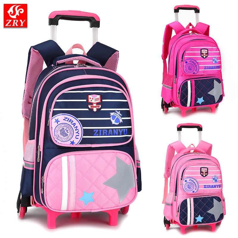 High quality kids trolley school bag 2 6 wheels shoulder backpack sailor  bags for girls 69e3352132cf7