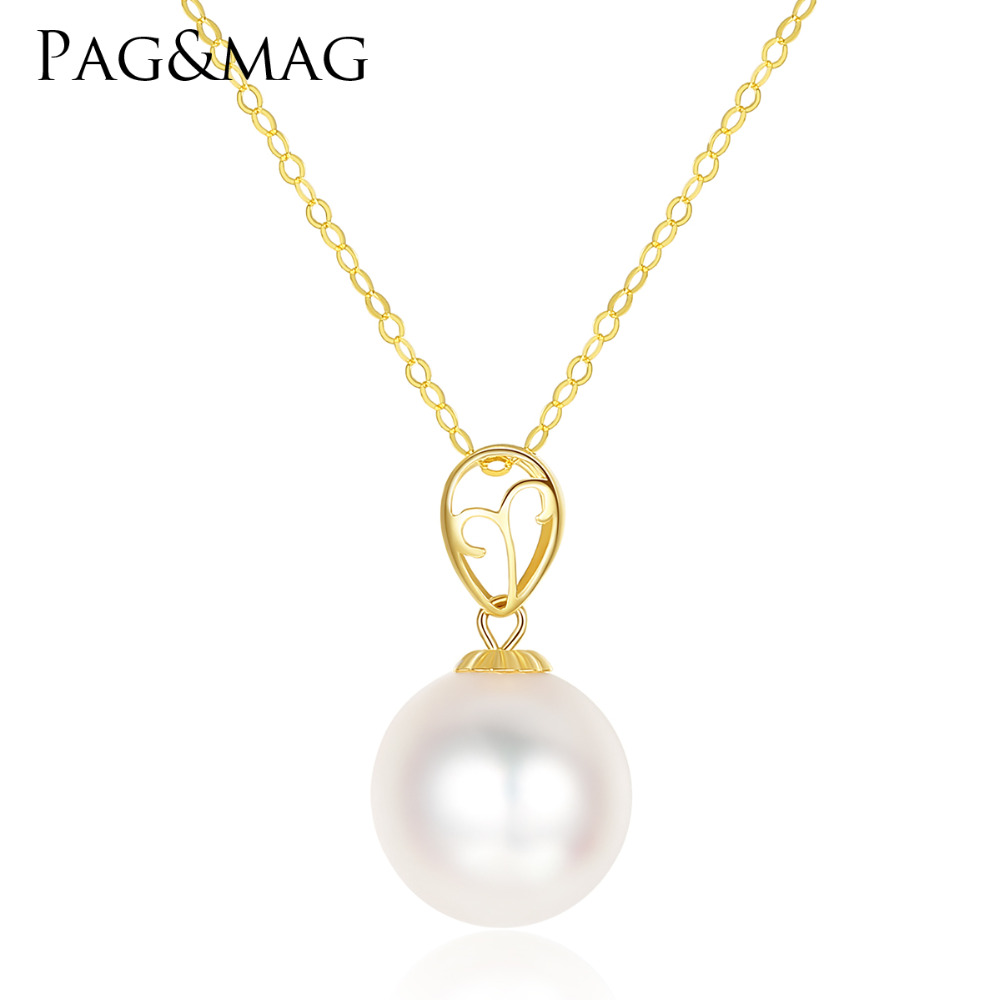PAG&MAG Fashion 8-9mm Round Ball Akoya Sea Pearl Pendant Necklace for Women 2 Colors 18K Yellow Gold Charm Chain Choker JewelryPAG&MAG Fashion 8-9mm Round Ball Akoya Sea Pearl Pendant Necklace for Women 2 Colors 18K Yellow Gold Charm Chain Choker Jewelry