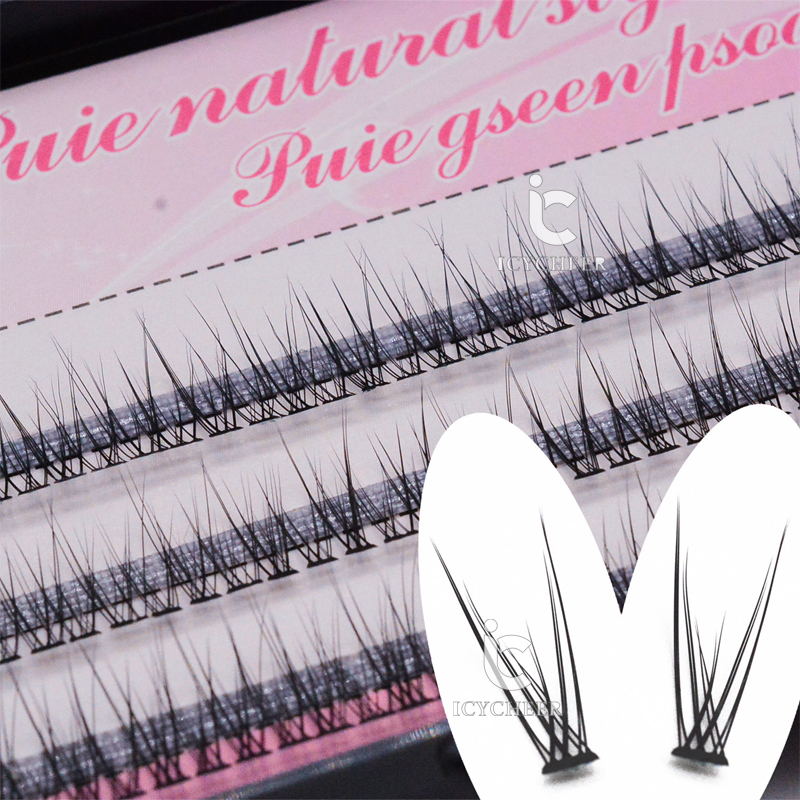 ICYCHEER  Handmade Natural Long Eyelashes Fish Tail Eyelashes Individual Cluster False Eyelashes Individual Eyelash Extensions