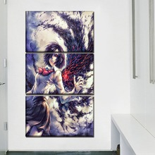 Canvas Print Picture Home Decor 3 Pcs Anime Tokyo Ghoul Touka Kirishima Painting Nebula Poster Modular Wall Art Framework