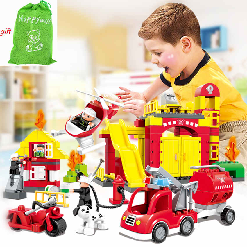 Happywill HM061  BLOCKS Large Fire Station Car Firefighter Truck Big Blocks Compatible Enlighten Bricks Building Toys For Kids kazi fire department station fire truck helicopter building blocks toy bricks model brinquedos toys for kids 6 ages 774pcs 8051