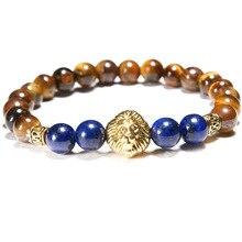 European and American Popular 8mm Tiger Eye Stone Lion Head Bracelet Yoga Mens Beads Womens