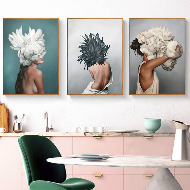 Modern Posters and Prints Flowers Feather Women Print Oil Painting Canvas Wall Art Pictures for Living Room Home Decoration