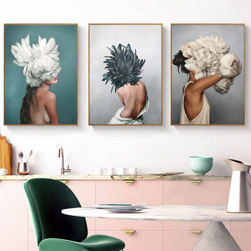 Us 299 40 Offnowoczesne Plakaty I Reprodukcje Kwiaty Feather Kobiety Drukuj Obraz Olejny Na Płótnie Obrazy Na ścianę Do Dekoracji Domu W Salonie W