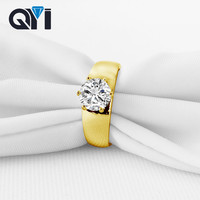 QYI 14K Solid Yellow Gold Halo Rings Trendy Design Women Jewelry Sona Simulated Diamond Engagement Wedding Band Ring