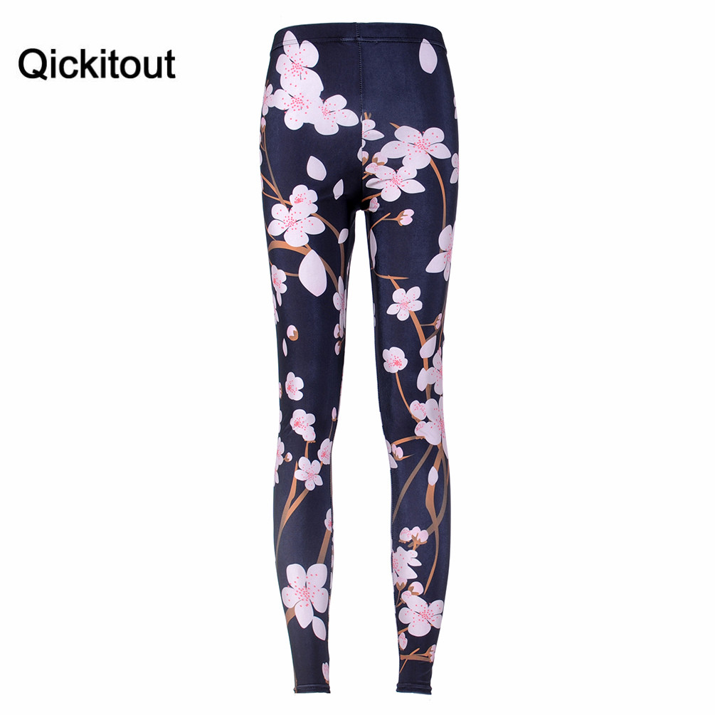 HOT Sexy Fashion Hot Pirate Leggins Digital Printing CHERRY BLOSSOM BLACK LEGGINGS For Women Pants Brands Famous Womens