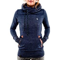 Autumn Harajuku Hoodies Women Loose Hooded Scarf Collar Pocket Pullovers Female Long Sleeve Cotton Sweatshirts Plus Size 30** 1