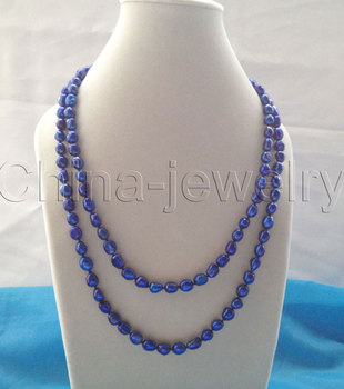 "FREE shipping> >>>Pretty 45"" 9-12mm deep blue baroque freshwater pearl necklace"