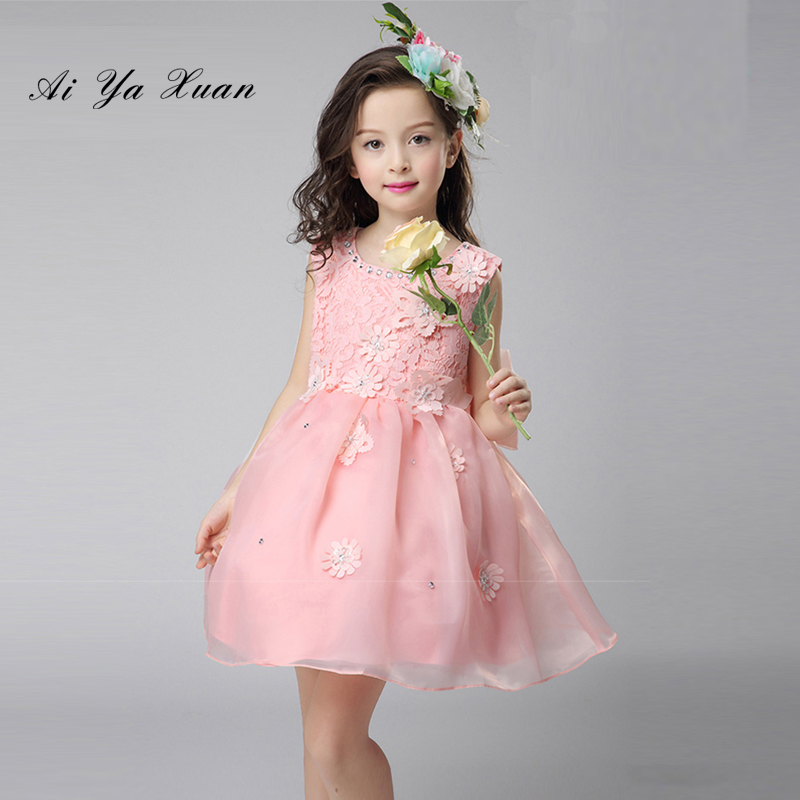 AiYaxuan New Arrival Chiffon Flower Princess Girl Dress Baptism Party Wedding Birthday Gown Kids tutu 1-7Years Children Dresses