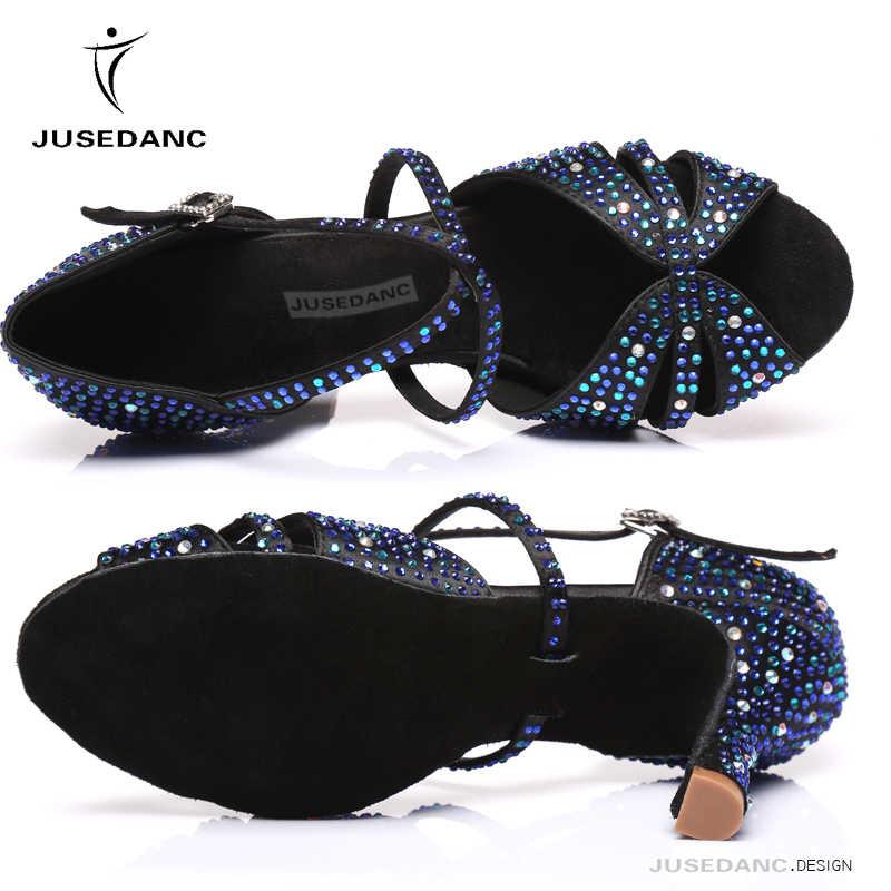 Tanz Schuhe Strass Dance Heels Ballroom Dance Schuhe Frauen Dance Jazz Schuhe Kontrast Strass Blau plus Grün JuseDanc