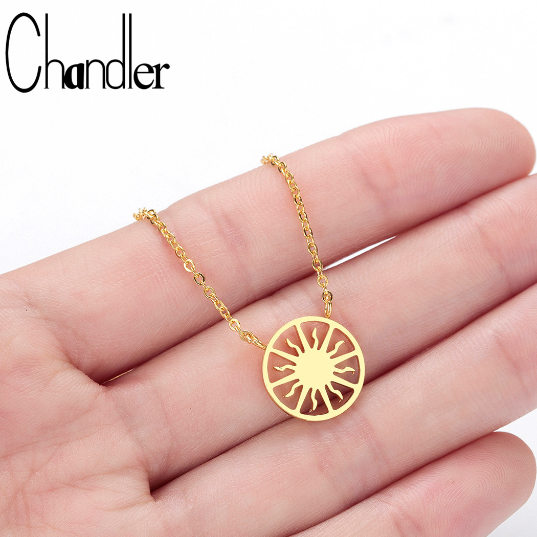 Chandler Stainless Steel Sunshine Sunburst Necklace Pendant <font><b>Sun</b></font> Beam Choker Necklaces for Women Christmas <font><b>Jewelry</b></font> Accessories image