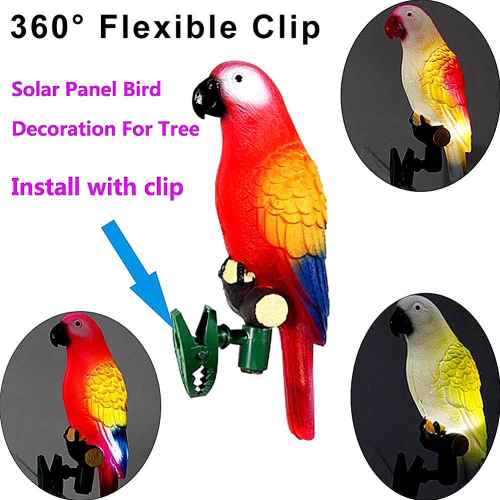 Night Lights In Garden Path Solar Nightlight LED Bulbs Plastic Solar Power Panel With Clip Lamp Ornament DC156 Parrot Waterproof in Solar Lamps from Lights Lighting