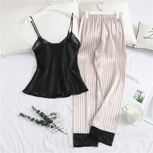 Image 2 - Pajamas For Women with Long Pants Satin Ice Silk V neck Striped Strap Lace Trim Sexy Sleepwear Nightie Womens Underwear Set