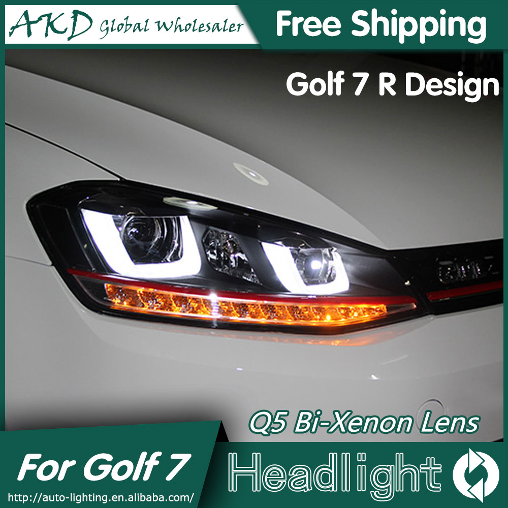 akd car styling for vw golf 7 headlights 2013 2015 golf7 led headlight golf 7 r drl bi xenon. Black Bedroom Furniture Sets. Home Design Ideas
