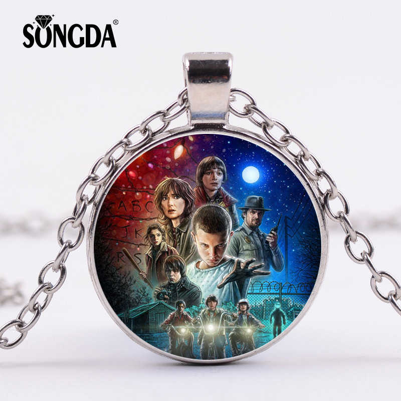 SONGDA Stranger Things Pendant Necklace 3D Character Design Handmade Glass Photo Cabochon Chain Choker Necklace Movies Jewelry