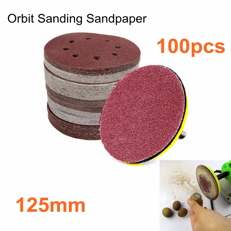 100Pcs 5 Sander Disc 60/80/100/120/240 Grit Sandpaper Sheet Hook Loop Sanding Disc for Abrasive Rotary Tools Polishing Disc high quality 1pc sanding sandpaper flap wheel disc 80 grit for dremel rotary tools