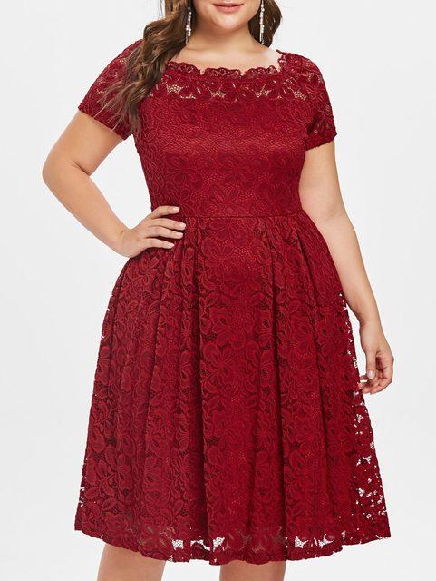 5073dbab378 Wipalo Plus Size Autumn Women Dress Lace Panel Off Shoulder Vintage Dresses  Elegant Solid Red A-line Party Dress femme vestidos