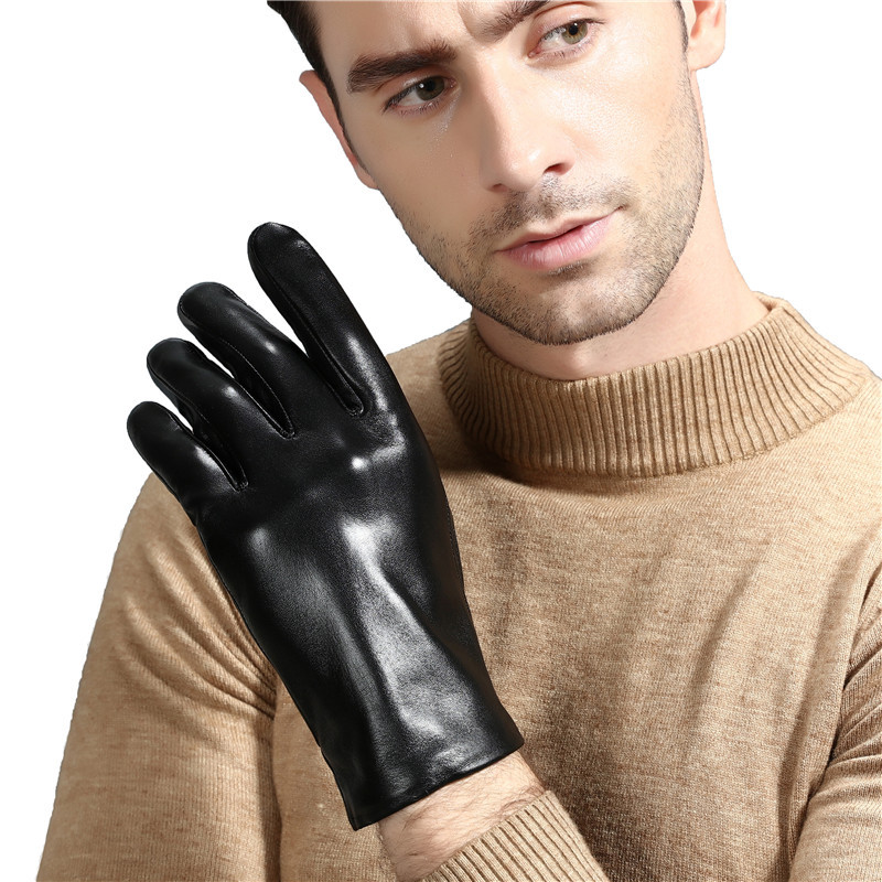 Genuine Leather Gloves Man Winter Warm Sheepskin Telefinger Gloves Motorcycle Driver Add Velvet Warm Touch Screen Goves Mlz113 Back To Search Resultsapparel Accessories