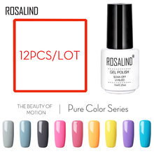 12PCS/Lot ROSALIND gel nail polish White Bottle 12 Solid Color For Choice top coat UV a set of gel varnishes set for manicure(China)