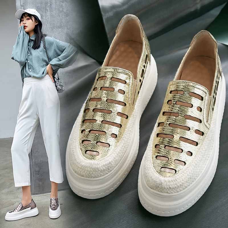 Women Shoes Sneakers Women Platform Gold Hollow Out Leather Casual Shoes Women 6cm 2019