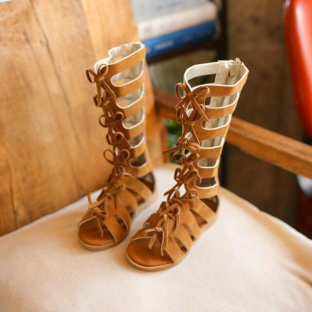 eb2fb4602c88 Children High Quality Shoes Summer boots High-top Fashion Roman Girls  sandals Kids Gladiator Sandals Toddler Baby Girls Sandals
