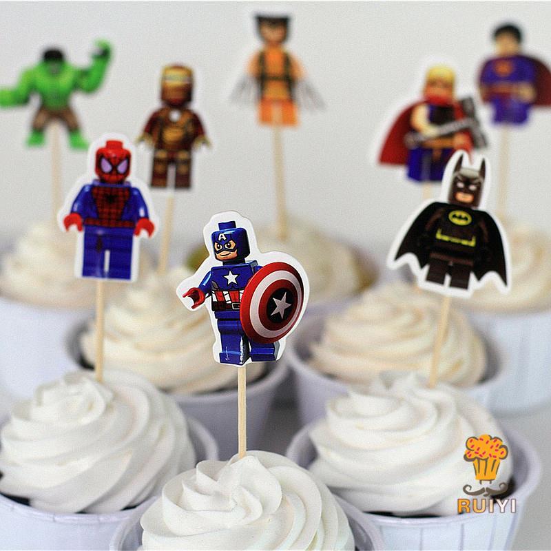 24pcs lego the avengers superman batman iron man cake