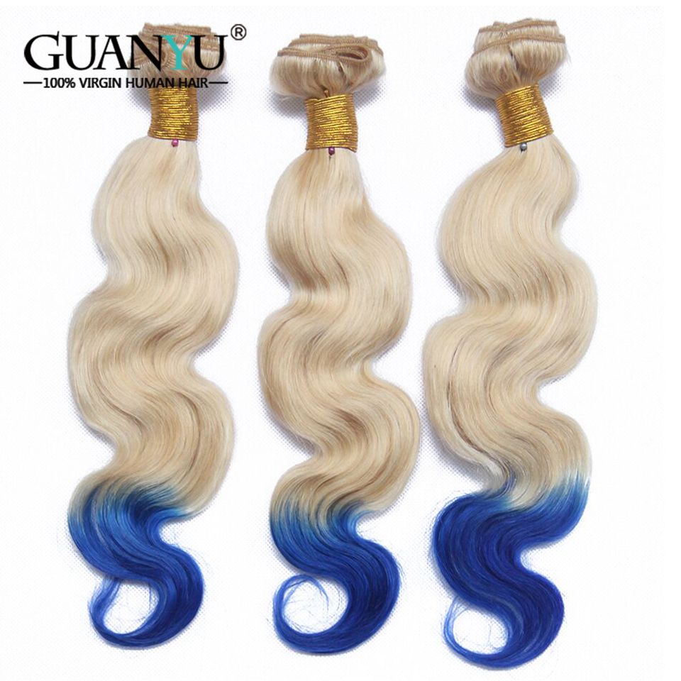 Guanyuhair 2T Blonde/Blue Malaysian Hair Body Wave Ombre Hair Bundles With 4*4 Lace Closure Pre-Colored 613 Human Hair Extension