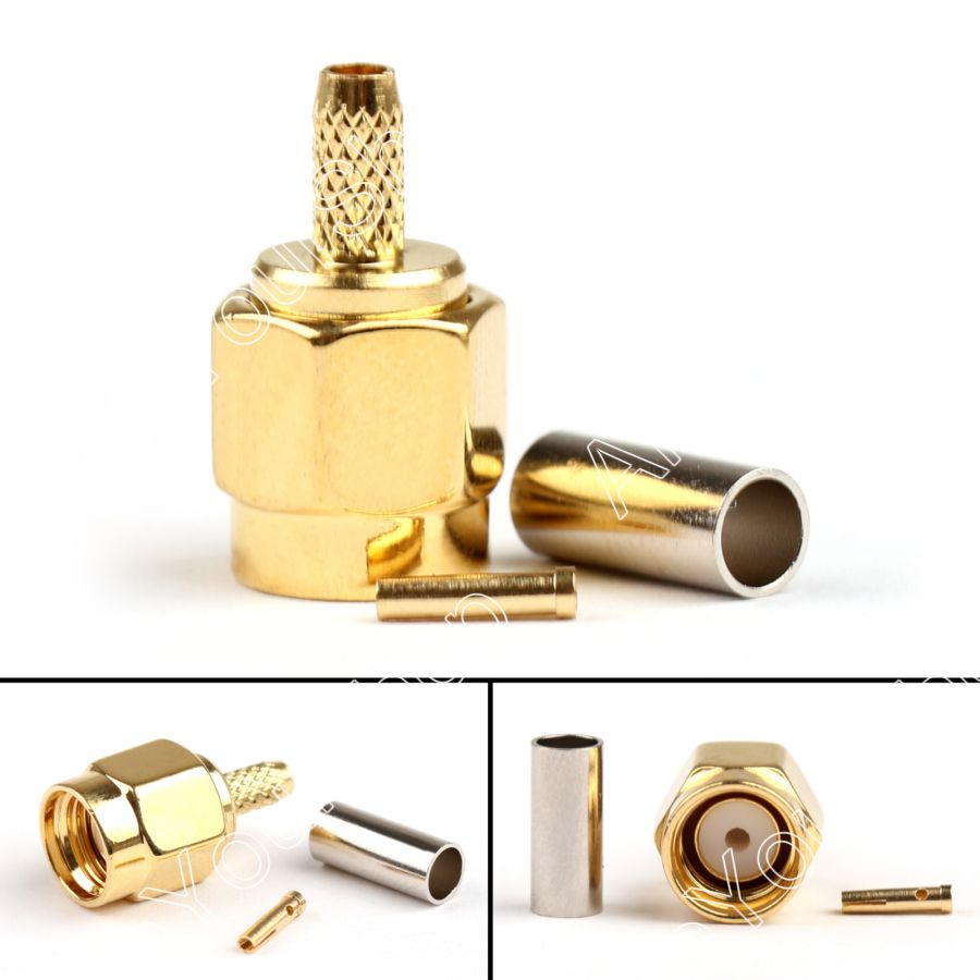 Sale 2/10 Pcs RP-SMA Male Jack Crimp Connector Cable For RG174 RG316 LMR100 WiFi High Quality Wire Connector dhl ems 2 lots 100pcs connector sma male plug crimp rg174 rg316 lmr100 cable straight d2