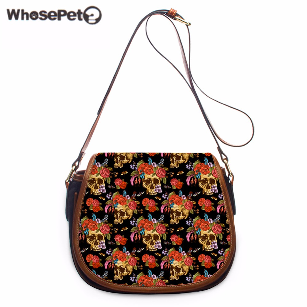 WHOSEPET Cool Skulls Flowers Printing Messenger Bag New Cross Body Bags for Women Girls Small Phone Coin Satchel Purse Fashion