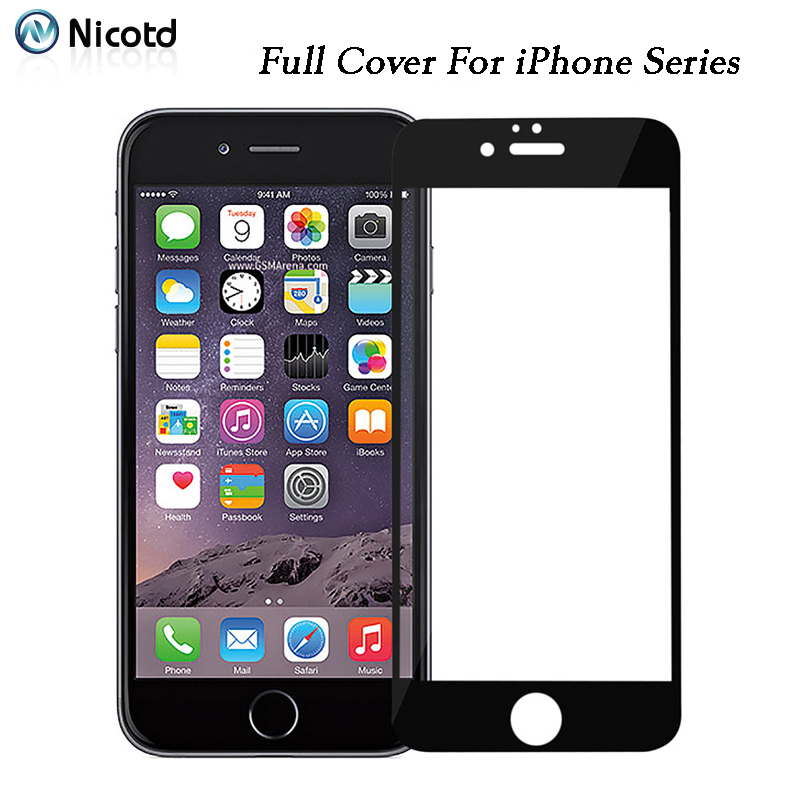 For iPhone 8 Plus 7 XS 6 6s Tempered Glass Screen Protector Film For iPhone X 7 6 6s Plus Full Cover Screen Protective Film