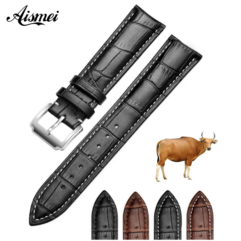 12mm 14mm 15mm 16mm 18mm 19mm 20mm 21mm 22mm Full-grain Cow Genuine Leather WatchBand Strap for Breitling Bracelt Omega Belt 12mm 14mm 16mm 18mm 19mm 20mm 22mm black genuine leather watchband ultrathin silver stainless steel leather strap