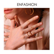 ENFASHION Pearl Crystal Geometric Ring Gold Color Stainless Steel Cute Circle Finger Rings For Women Accessories Jewelry RB4009(China)