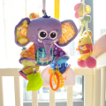 Multifunctional lathe hang response paper tape bb device teethers baby bad soft rubber soft safety Purple elephant
