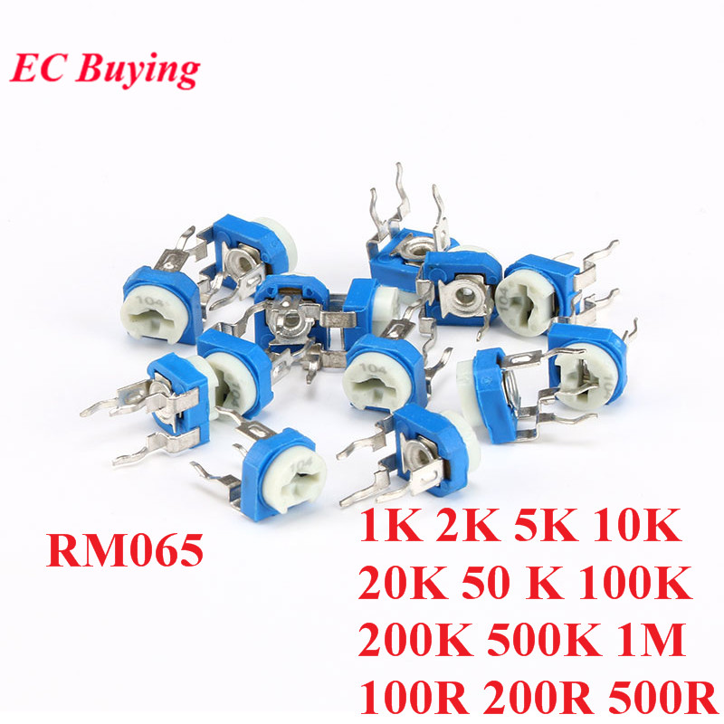10pcs RM065 RM-065 100 200 <font><b>500</b></font> 1K 2K 5K 10K 20K 50K 100K 200K 500K 1M <font><b>ohm</b></font> Trimpot Trimmer <font><b>Potentiometer</b></font> Variable Resistor image